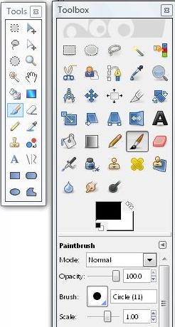 Paint.Net tools vs. GIMP toolbox